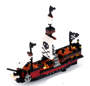 Large Caribbean Pirate Skull Ship  (Diamond Blocks)