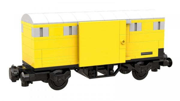 Covered freight car, yellow