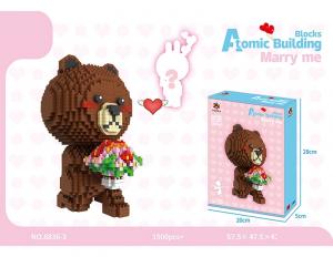 Bär mit Blumen (diamond blocks)