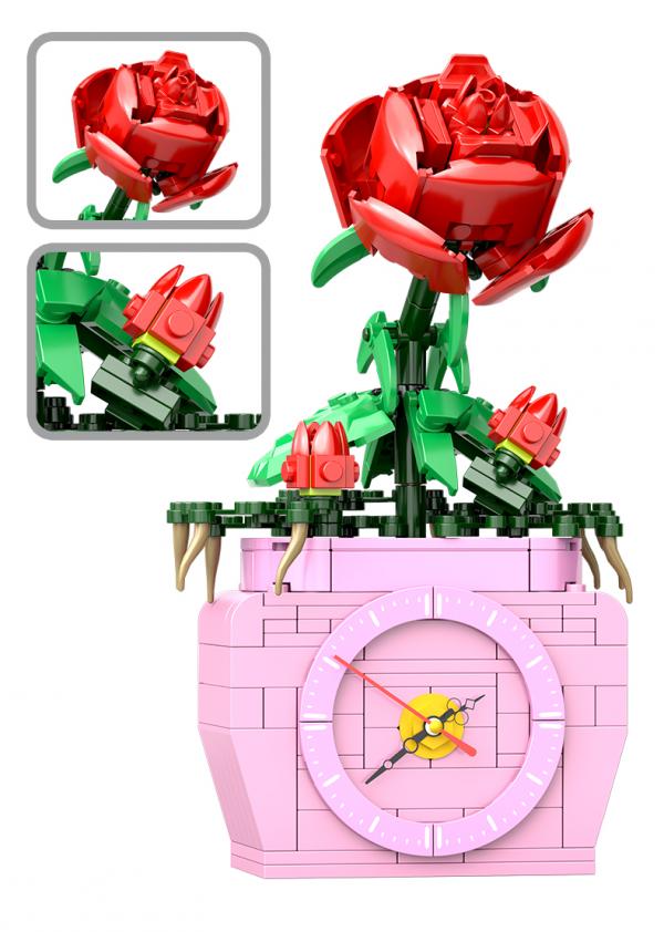 Rose im Blumentopf inkl. Uhr
