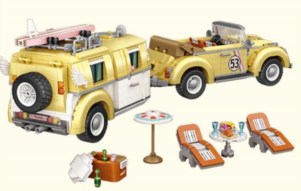 Auto mit Campingwagen (mini blocks)