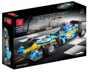 Formel Wagen in hellblau/gelb