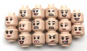 Assortment of 16 Heads Woman (pink) for Minifigures
