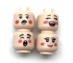Assortment of 4 Faces (Pink) for Minifigures