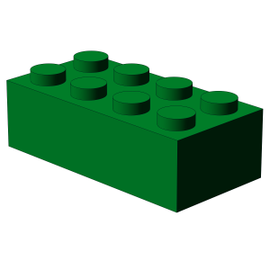 500 pcs 2x4 brick, Green | 500x No. 3001  BRICK 2X4, Dark Green