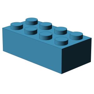 500 pcs 2x4 brick, Dark Azure | 500x No. 3001  BRICK 2X4, Dark Azur