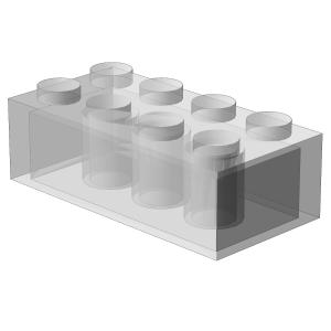 500 Stück, 2x4 Stein, Transparent