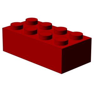 500 Stück, 2x4 Stein, Rot