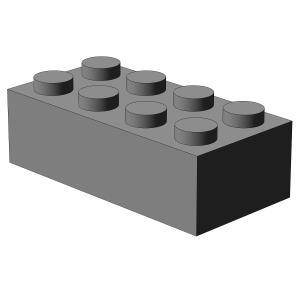 500 Stück, 2x4 Stein, Hellgrau