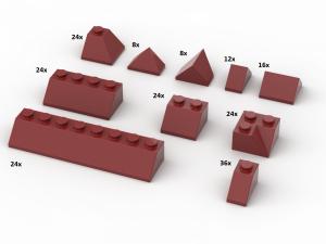 200 pcs, Roof Slopes, mixed, Dark Red