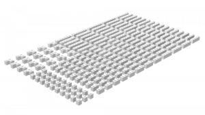 200 pcs, 1wide bricks, mixed, White