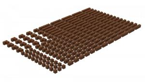 200 pcs, 1wide bricks, mixed, Reddish Brown