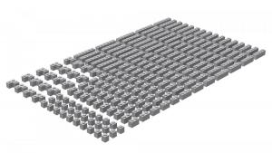 200 pcs, 1wide bricks, mixed, Light Bluish Gray