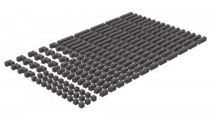 200 pcs, 1wide bricks, mixed, Dark Bluish Gray