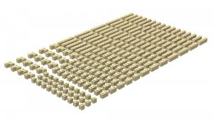 200 pcs, 1wide bricks, mixed, Tan