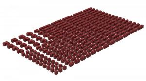 200 pcs, 1wide bricks, mixed, Dark Red