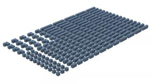 200 pcs, 1wide bricks, mixed, Sand Blue