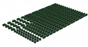 200 pcs, 1wide bricks, mixed, Dark Green
