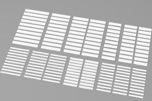 Lange Plates, gemischt, weiß