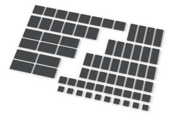 Große Plates, gemischt, dunkelgrau (Dark Bluish Gray)