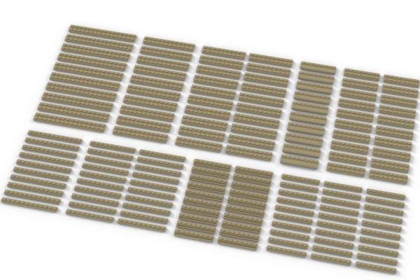 Lange Plates, gemischt, beige (Tan)