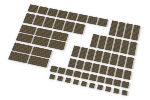 Große Plates, gemischt, dunkelbeige (Dark Tan)