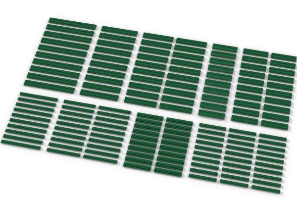 Long Plates, mixed, Green