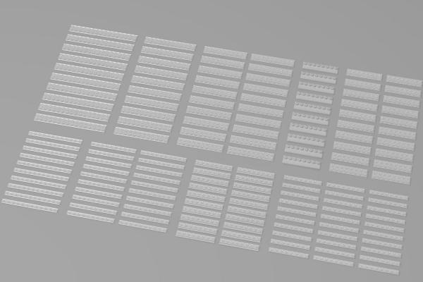 Lange Plates, gemischt, transparent (Trans Clear)