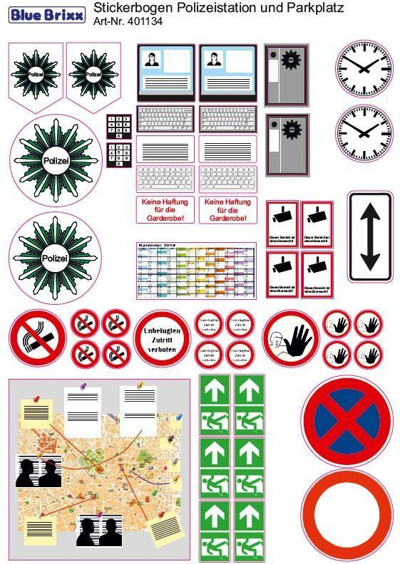 sticker sheet Police station and parking lot