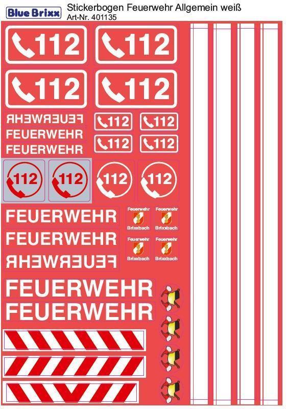 Stickerbogen Feuerwehr Allgemein weiß