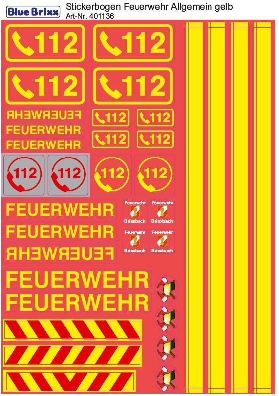 Sticker sheet Fire department general yellow
