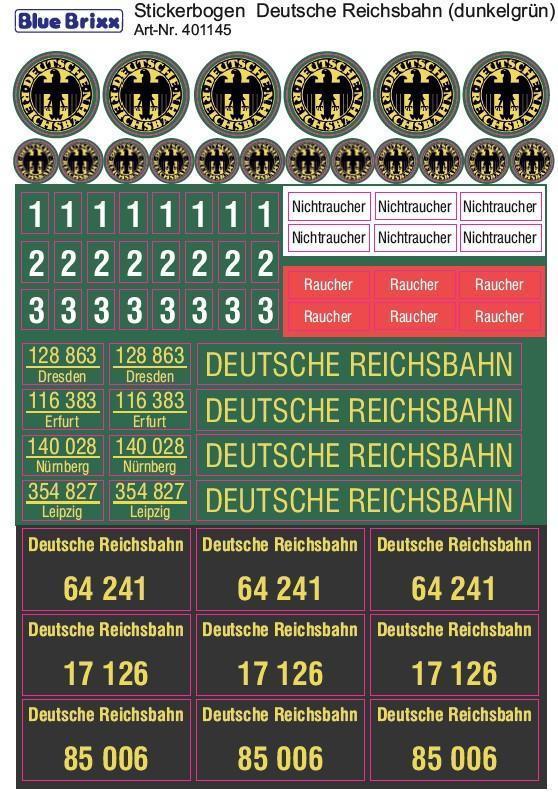 Sticker sheet german Reichsbahn darkgreen