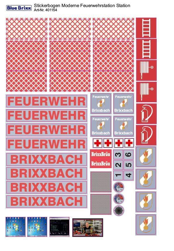 Sticker sheet Modern Fire Station