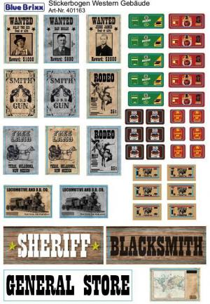 Sticker sheet Western buildings