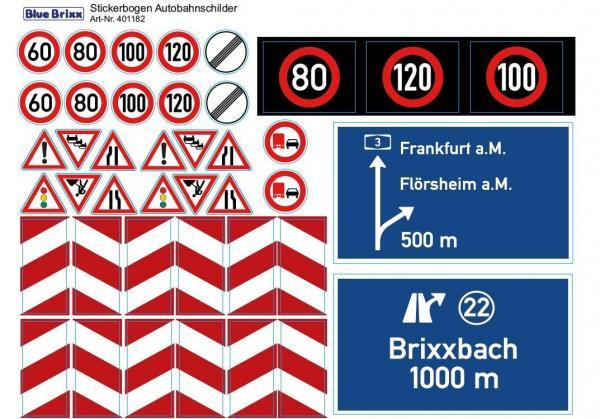 Stickerbogen Autobahnschilder