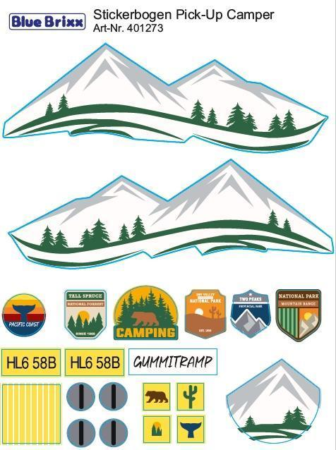 Sticker sheet Pick-Up Camper