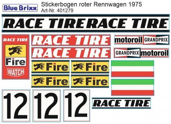 Sticker sheet red Race Car 1975