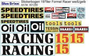 Stickerbogen für 1979er Formel Racer weiß/gelb