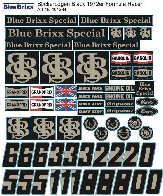 Sticker sheet Black 1972 Formular Racer
