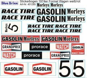 Stickerbogen für 1974er Formel Wagen weiß/rot