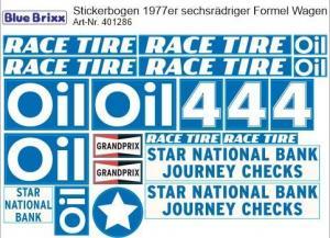Stickerbogen für 1977er sechsrädriger Formel Wagen blau/weiß