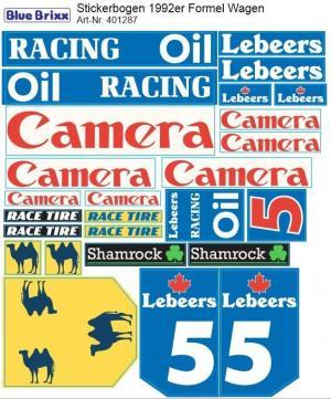 Stickerbogen für 1992er Formel Wagen blau/weiß/gelb