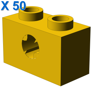 BRICK 1X2 WITH CROSS HOLE X 50