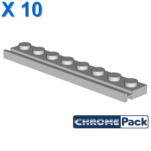 PLATE 1X8 WITH RAIL, 10 pcs