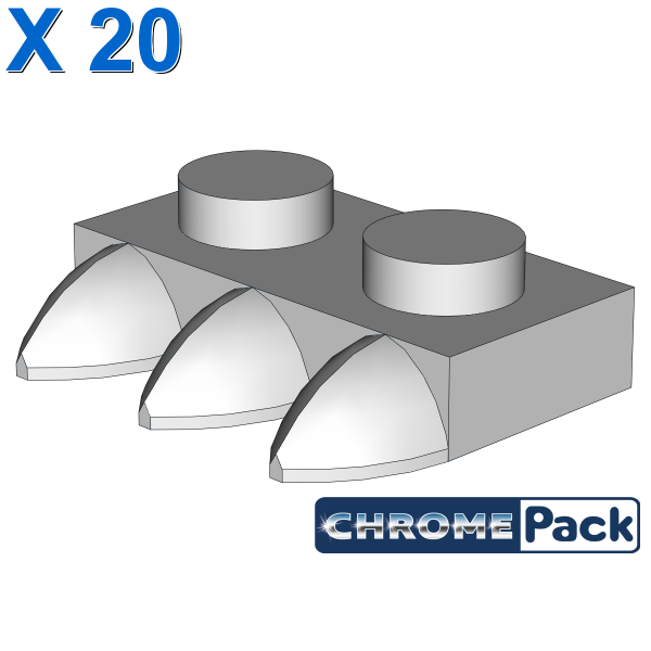 1X2 PLATE WITH 3 TEETH, 20 pcs