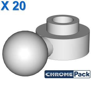 PLATE 1X1 ROUND W. BALL, 20 Stück
